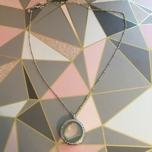 Origami Owl  Med Crystal Locket with Chain.